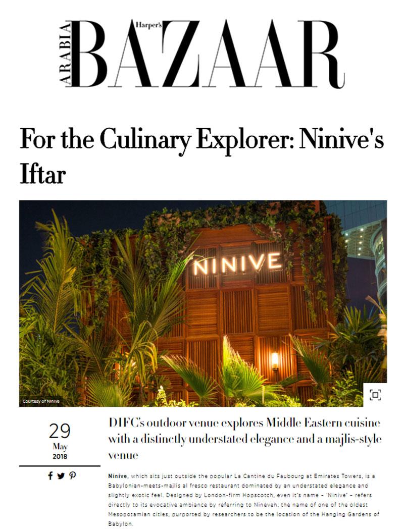 Harper's Bazaar: For the Culinary Explorer - Ninive Dubai